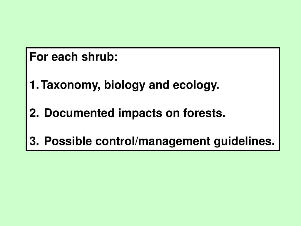 For each shrub: