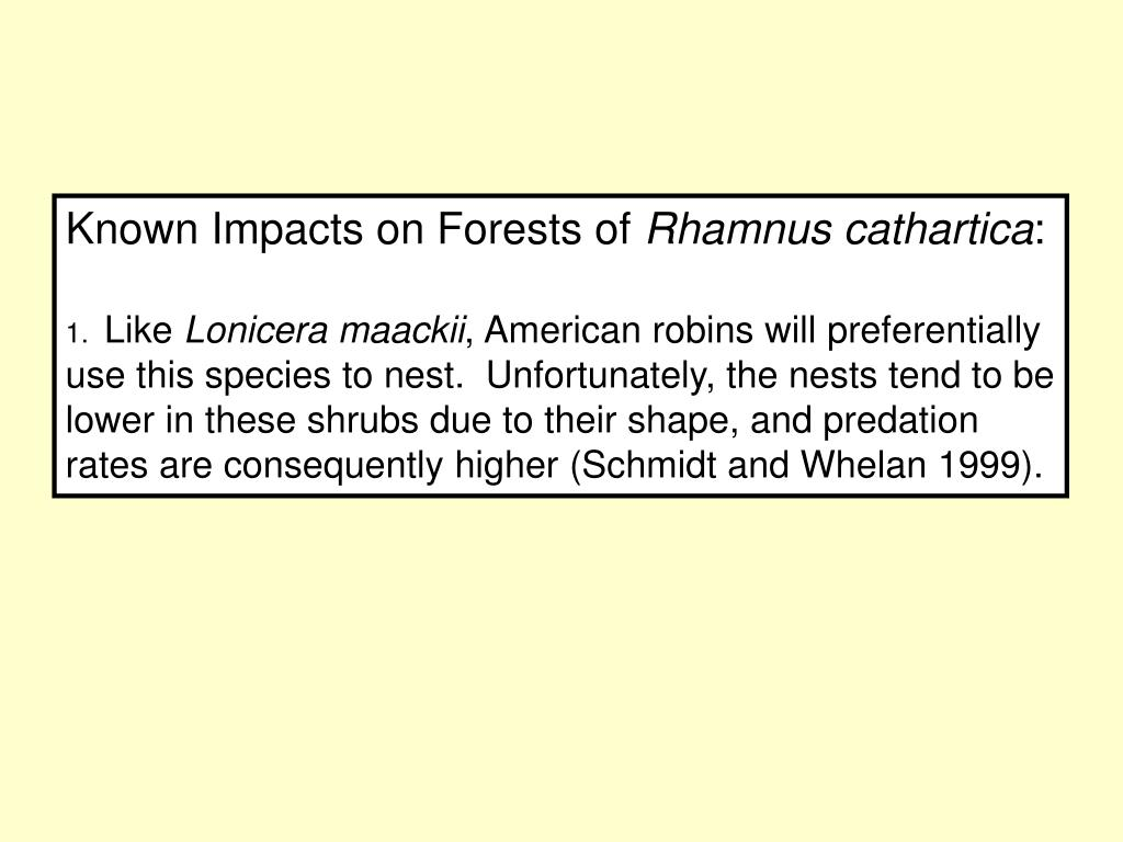 Known Impacts on Forests of