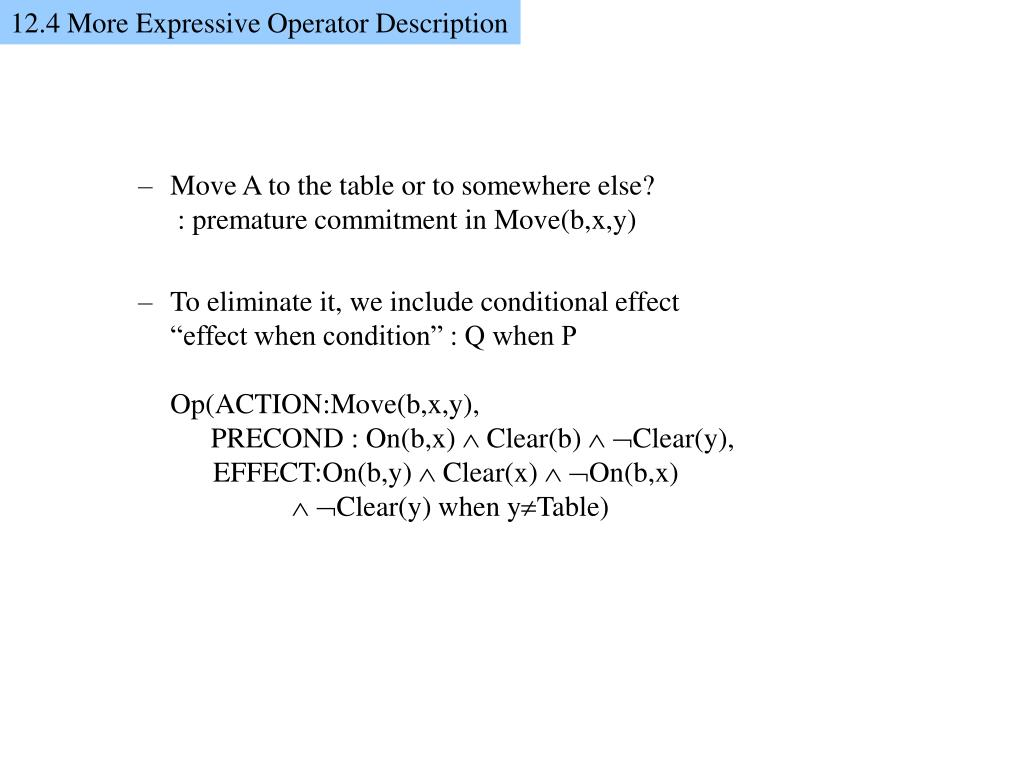 12.4 More Expressive Operator Description