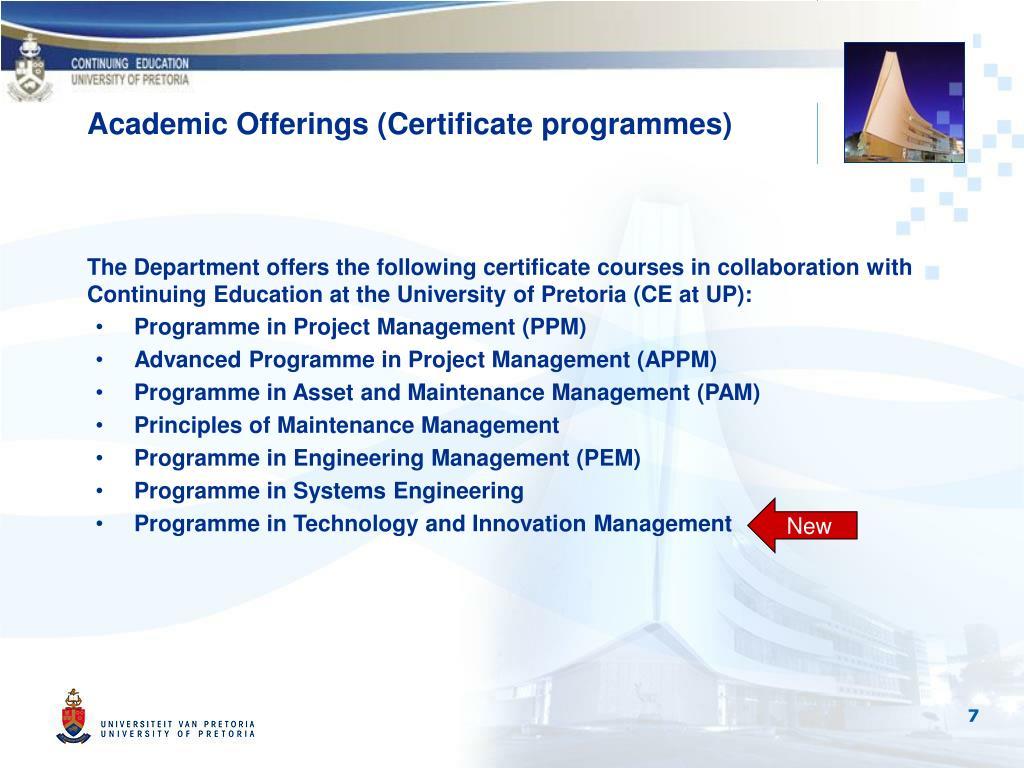 Academic Offerings (Certificate programmes)