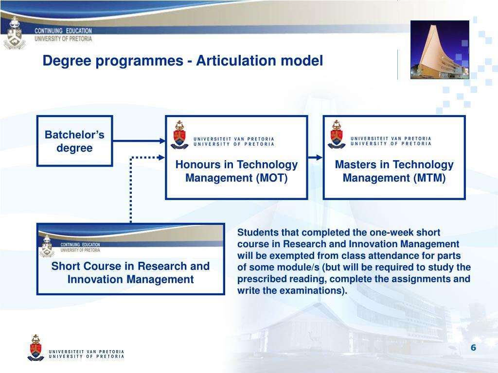 Degree programmes - Articulation model
