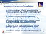 graduate school of technology management department of engineering and technology management