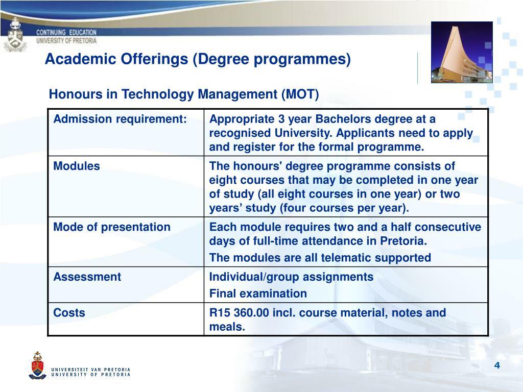 Honours in Technology Management (MOT)