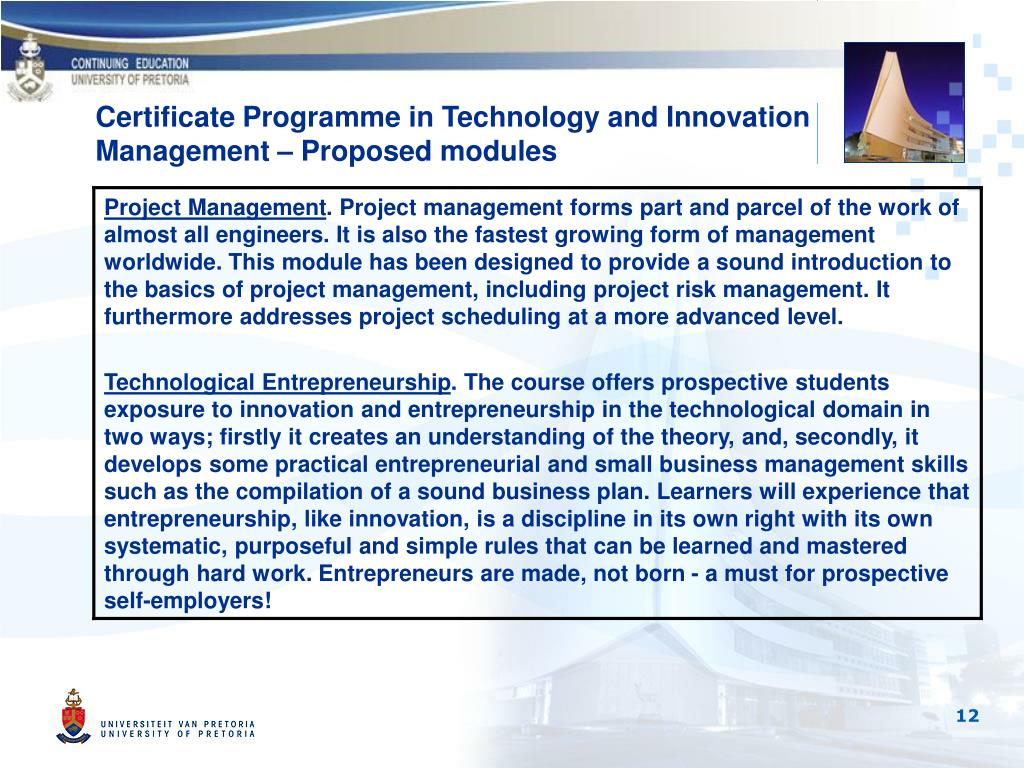 Certificate Programme in Technology and Innovation Management – Proposed modules