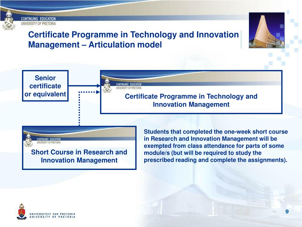 Certificate Programme in Technology and Innovation Management – Articulation model