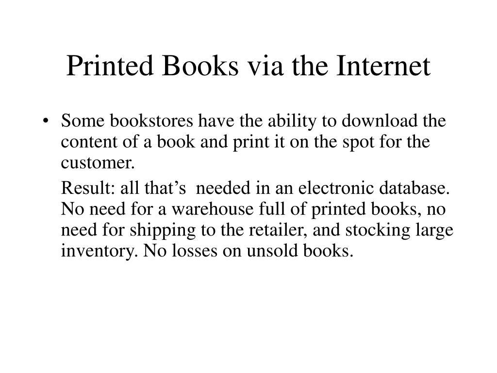 Printed Books via the Internet