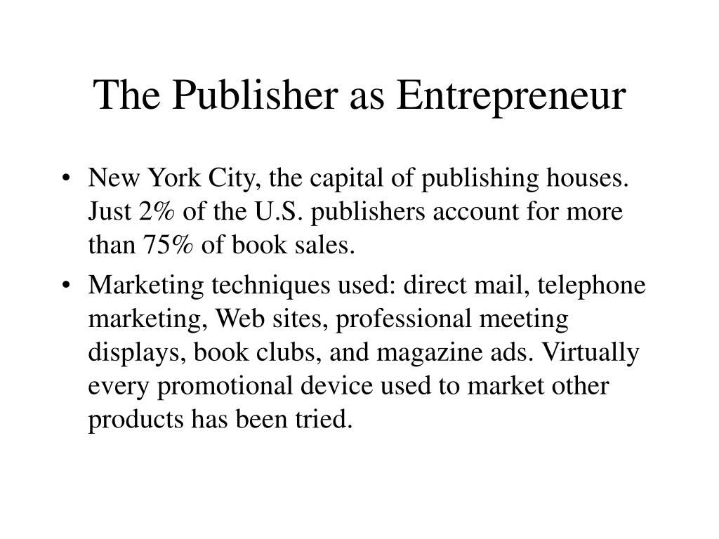 The Publisher as Entrepreneur