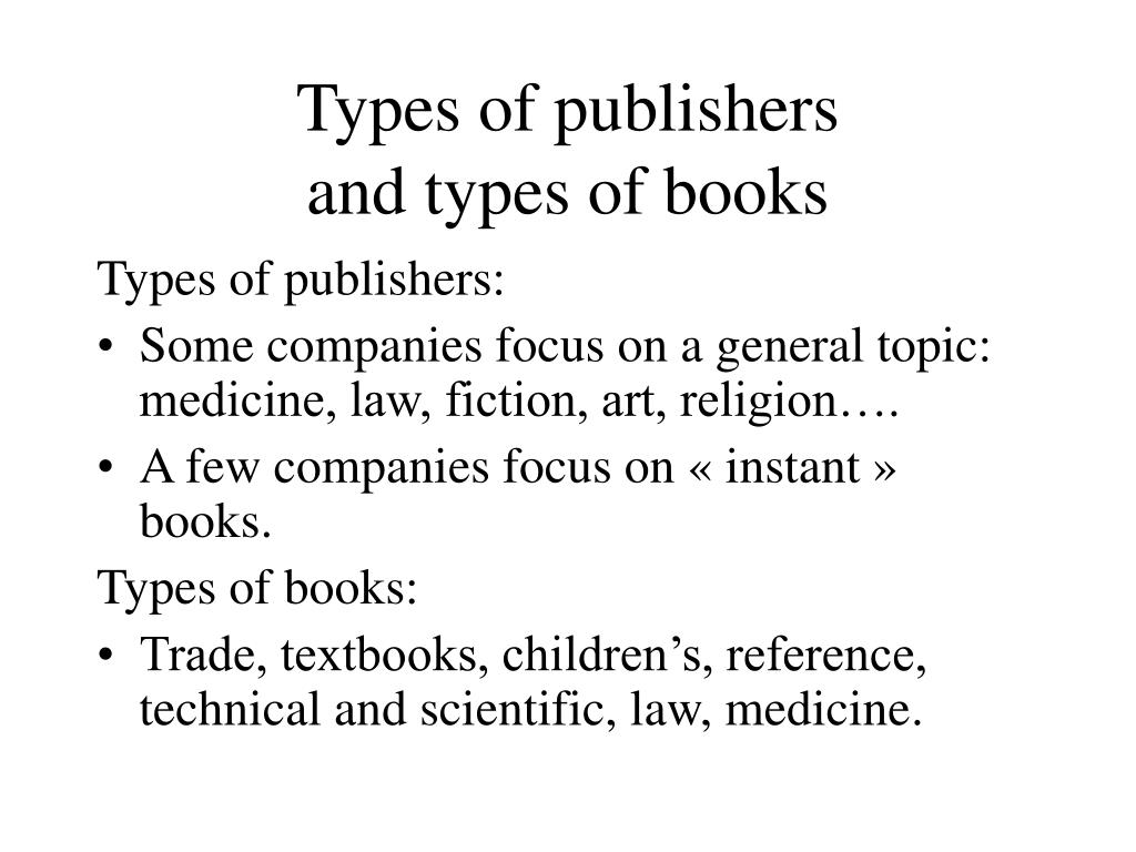 Types of publishers