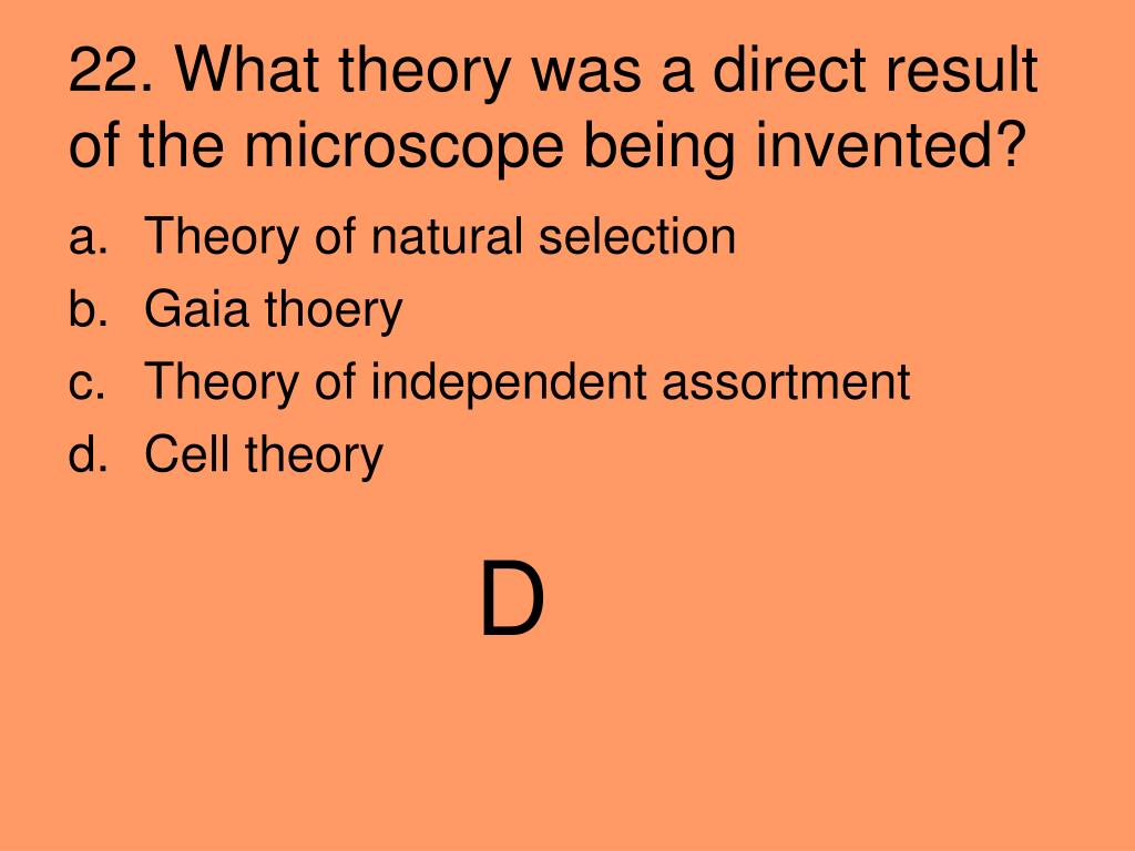 22. What theory was a direct result of the microscope being invented?