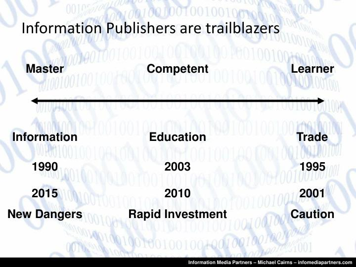 Information publishers are trailblazers