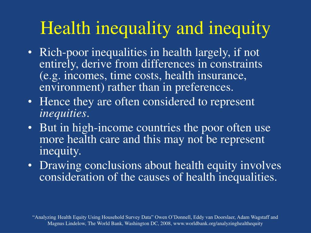 Health inequality and inequity