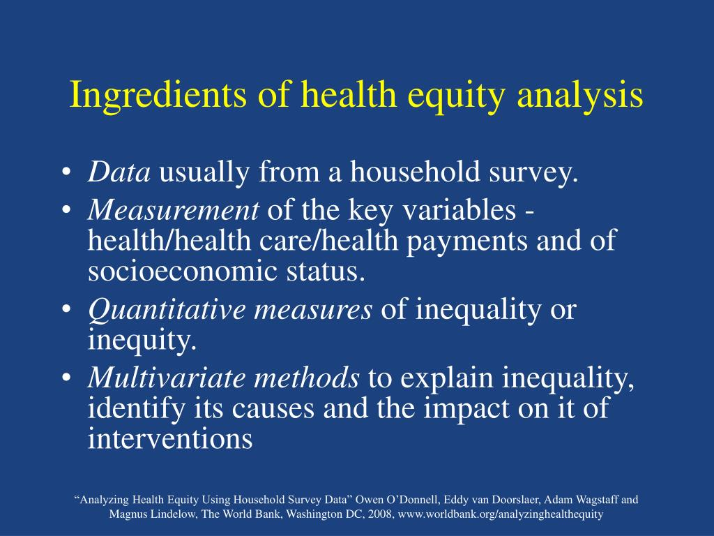 Ingredients of health equity analysis