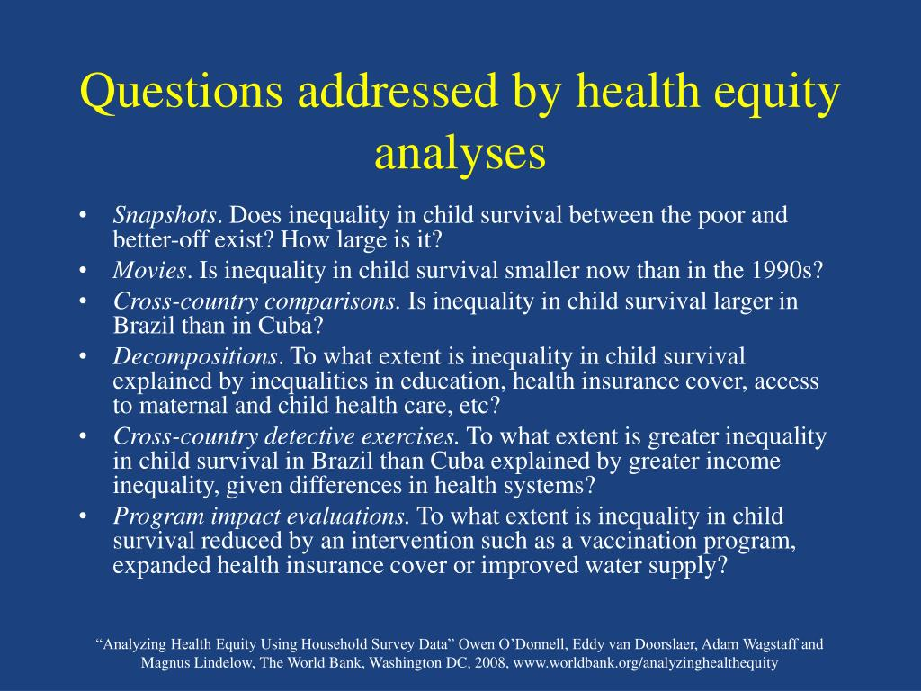 Questions addressed by health equity analyses
