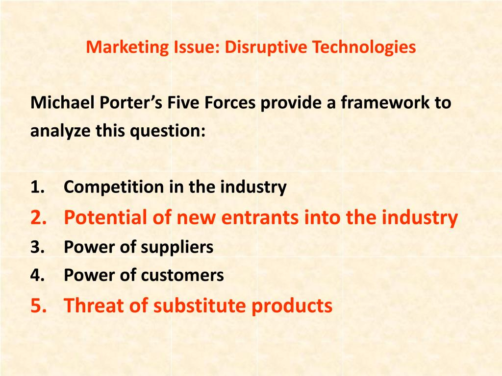 Marketing Issue: Disruptive Technologies