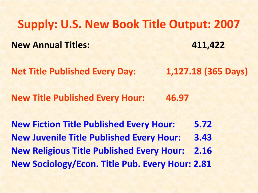 Supply: U.S. New Book Title Output: 2007