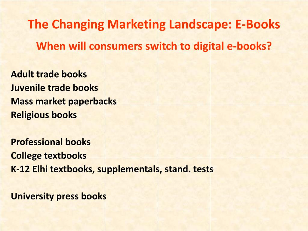 The Changing Marketing Landscape: E-Books