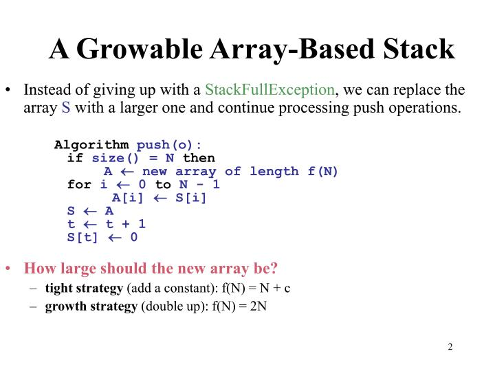 A growable array based stack