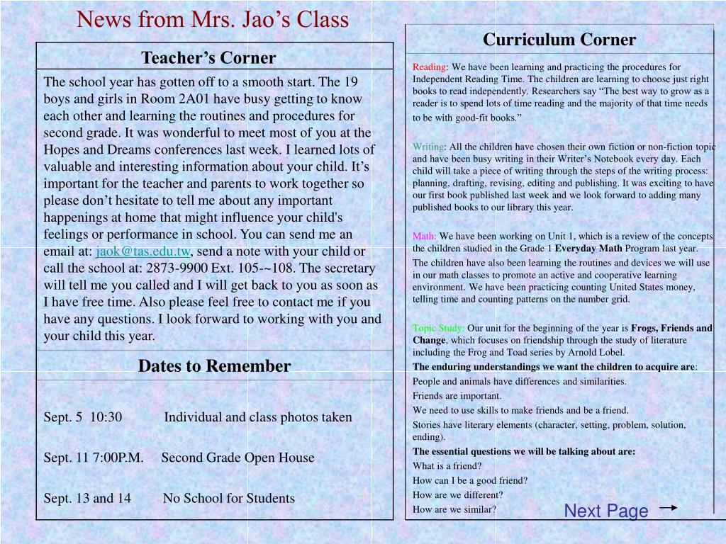 News from Mrs. Jao's Class