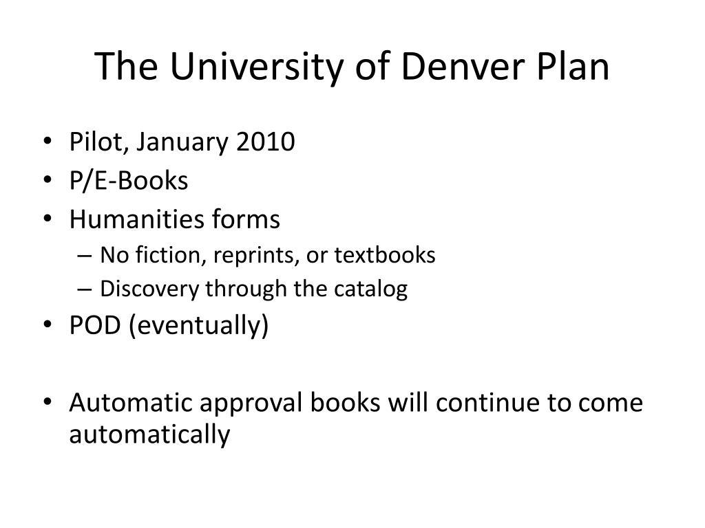 The University of Denver Plan
