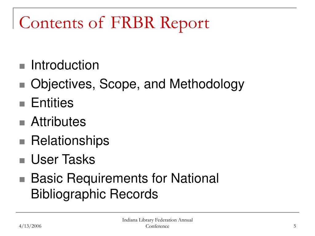 Contents of FRBR Report