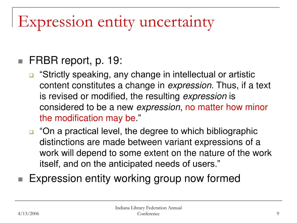 Expression entity uncertainty