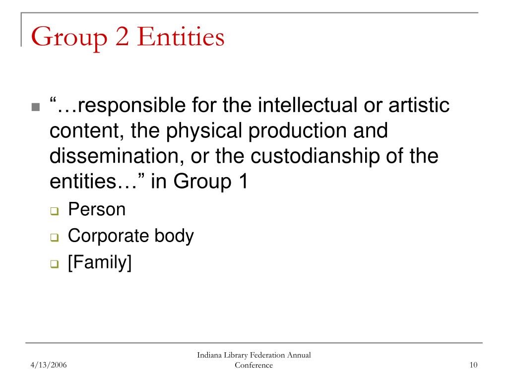 Group 2 Entities