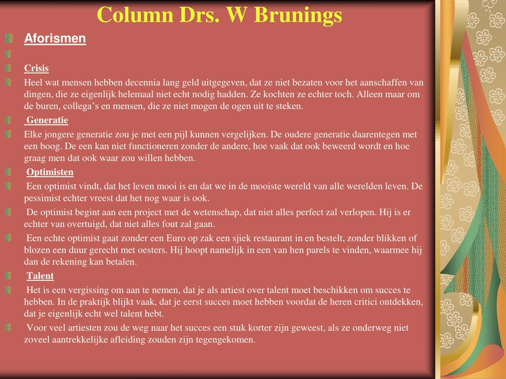 Column Drs. W Brunings