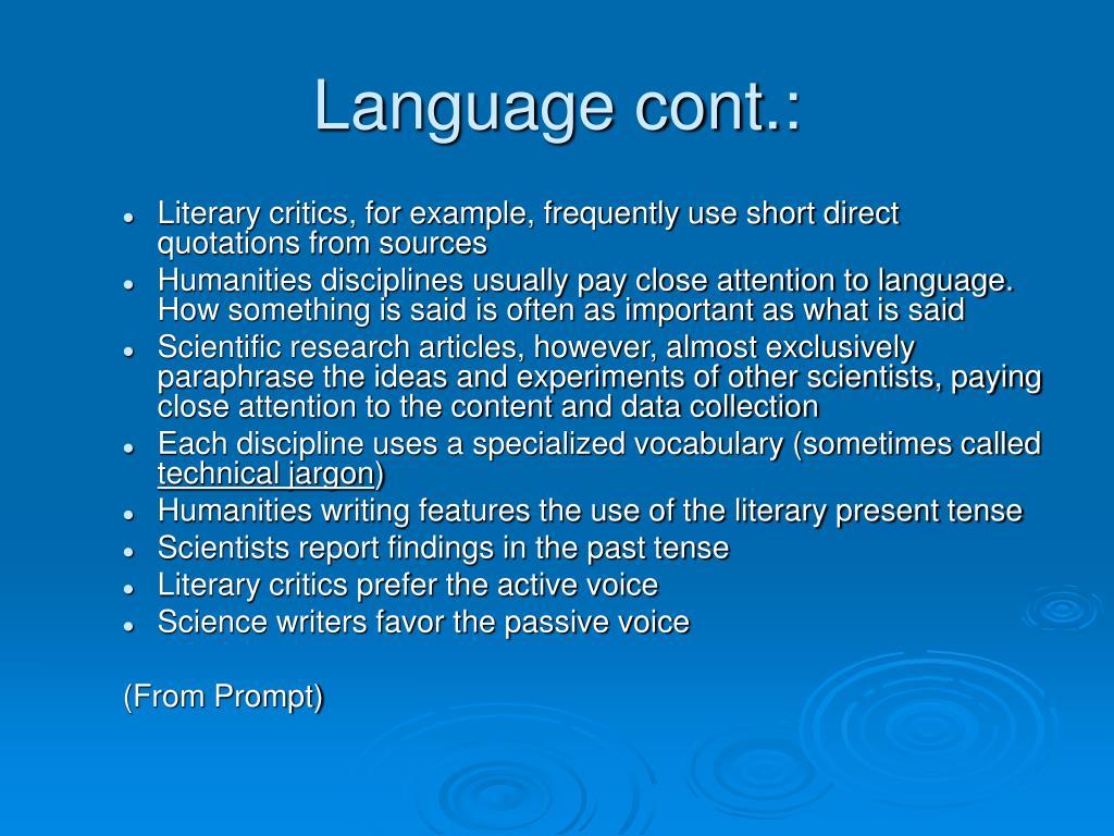 Language cont.: