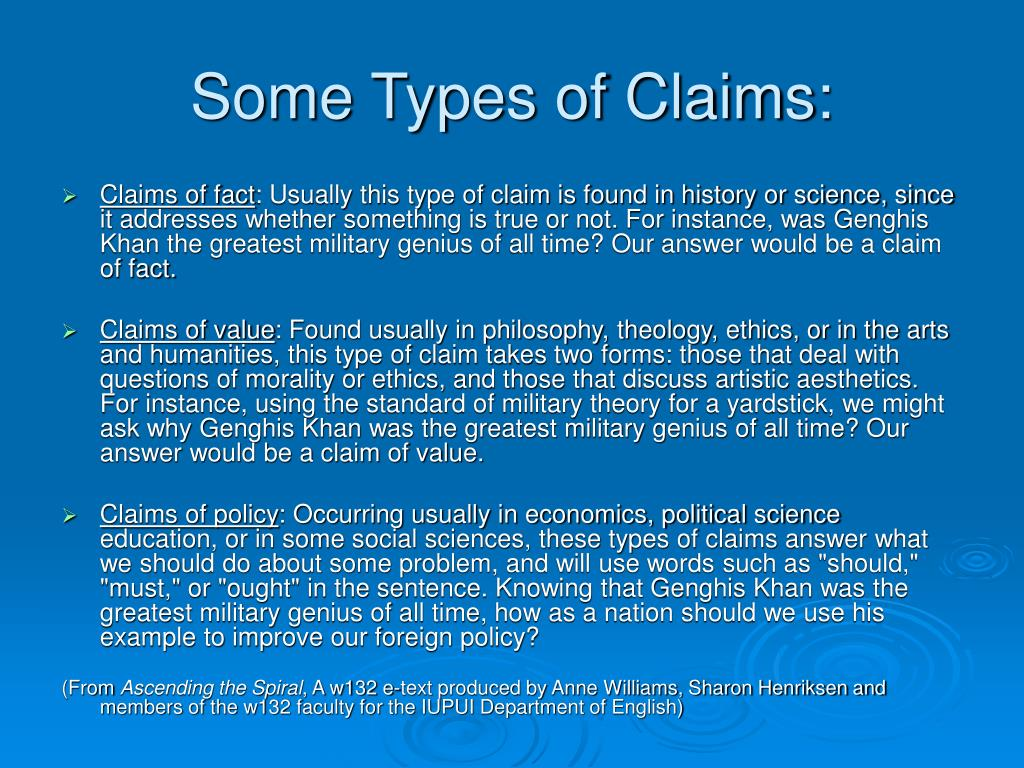Some Types of Claims: