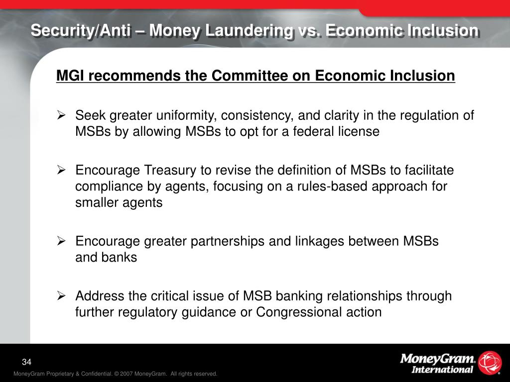 Security/Anti – Money Laundering vs. Economic Inclusion