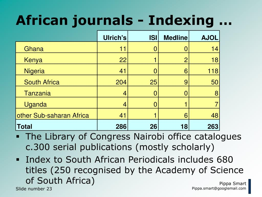 African journals - Indexing …