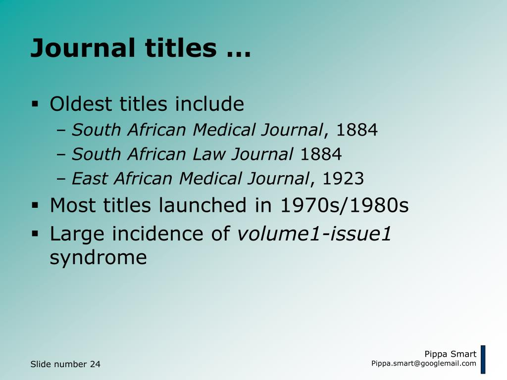 Journal titles …
