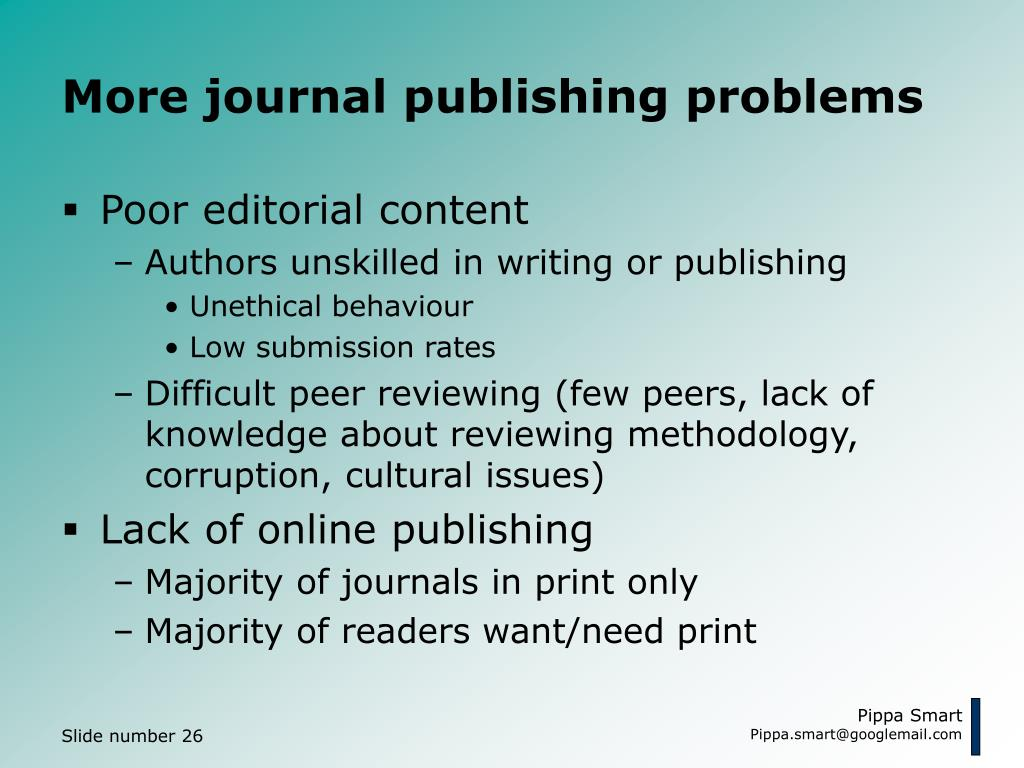 More journal publishing problems