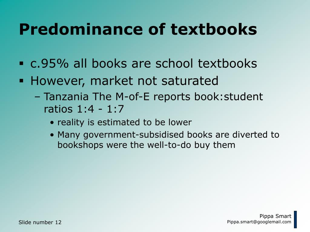 Predominance of textbooks