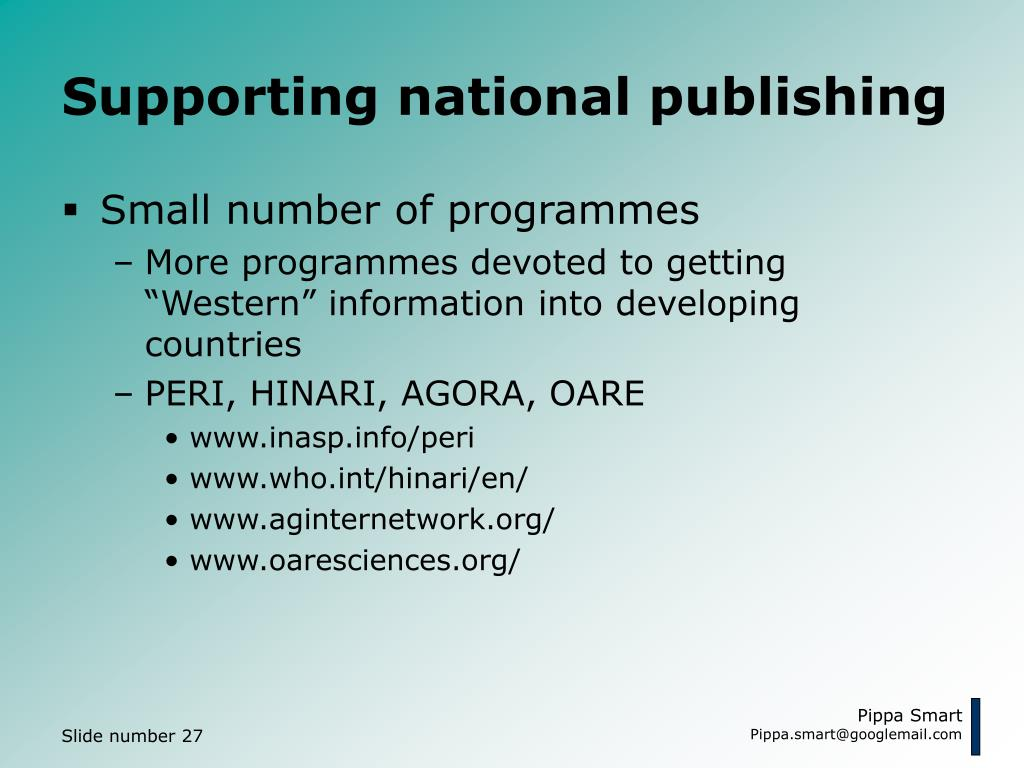 Supporting national publishing