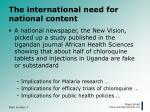 the international need for national content