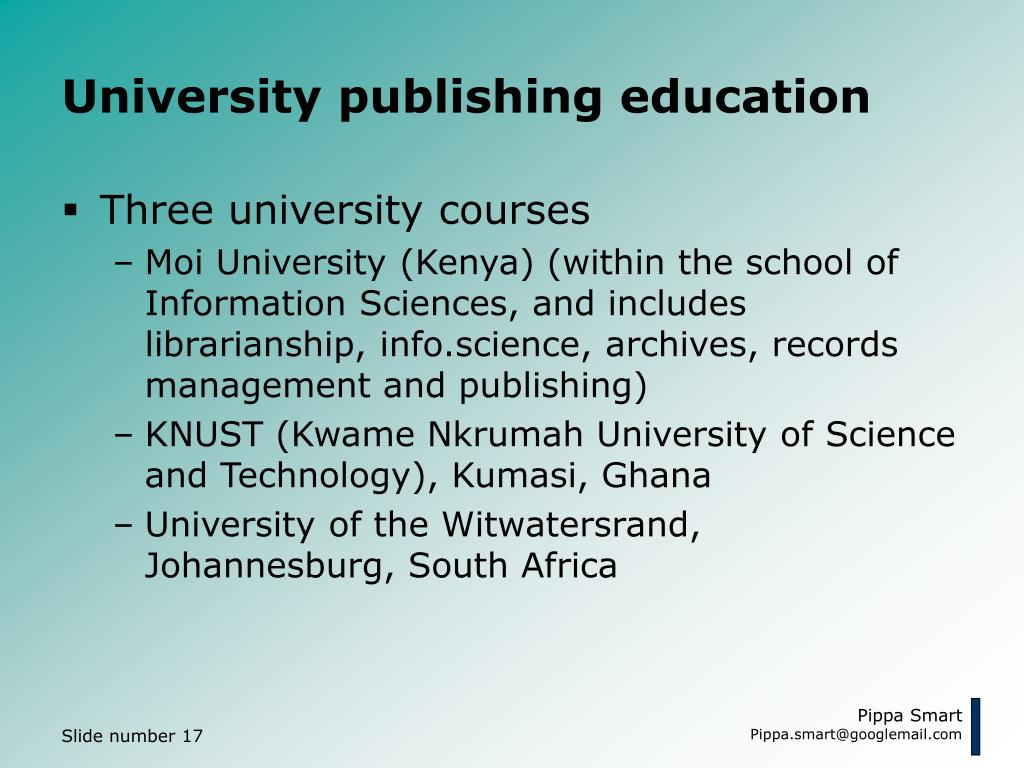 University publishing education