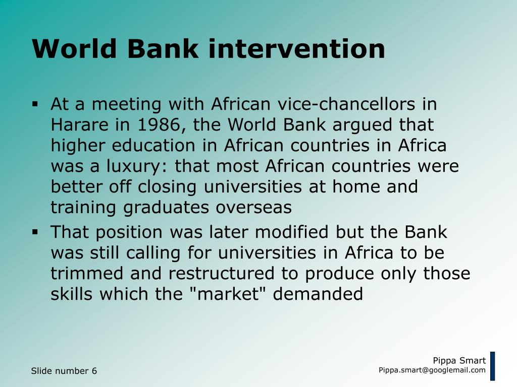 World Bank intervention