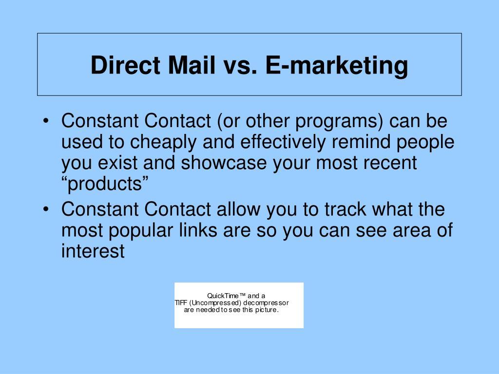 Direct Mail vs. E-marketing