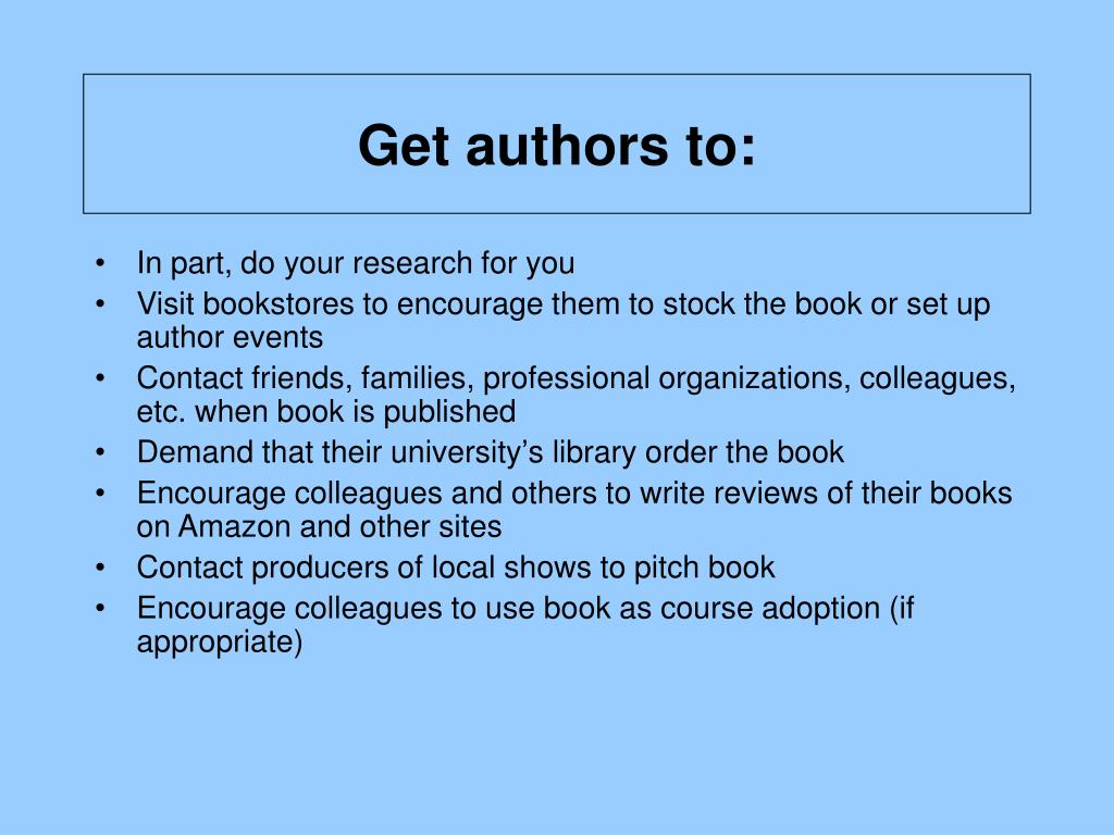 Get authors to: