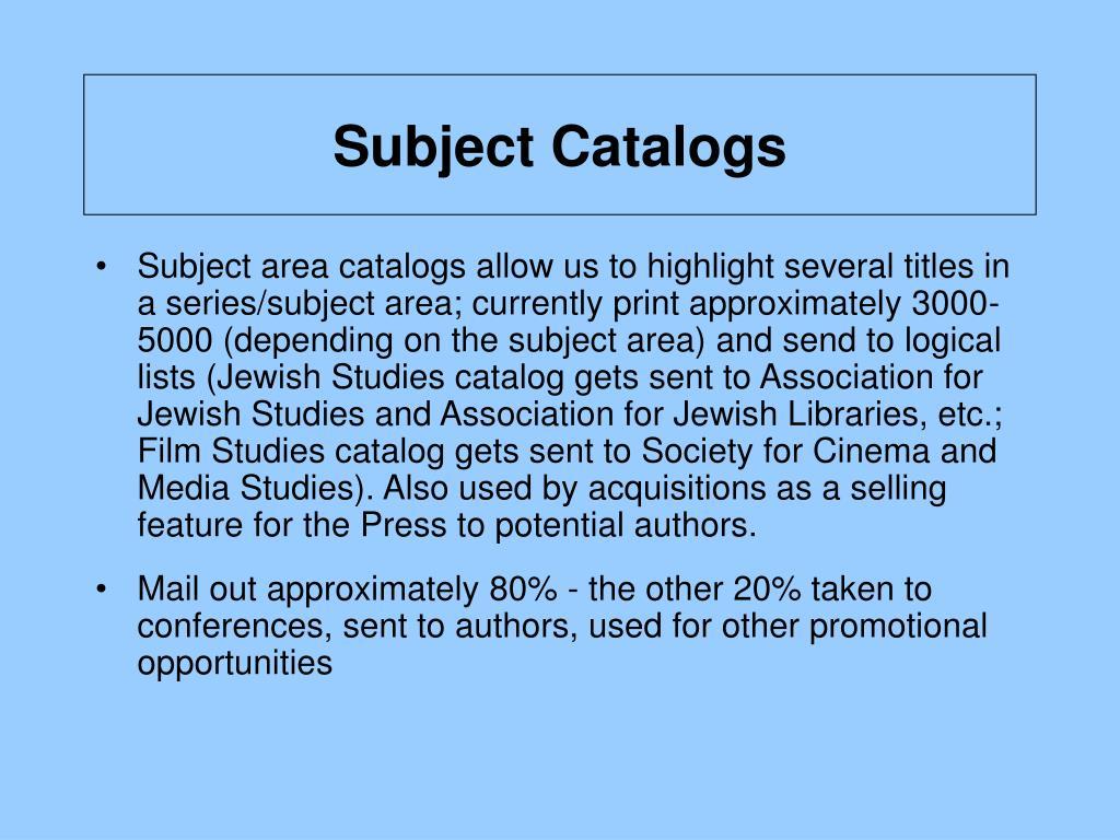 Subject Catalogs