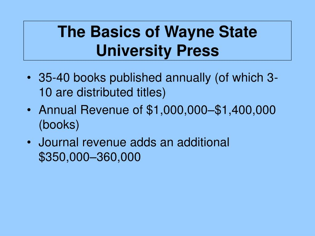 The Basics of Wayne State University Press