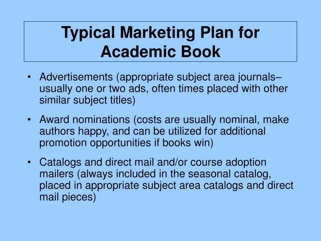 Typical Marketing Plan for Academic Book