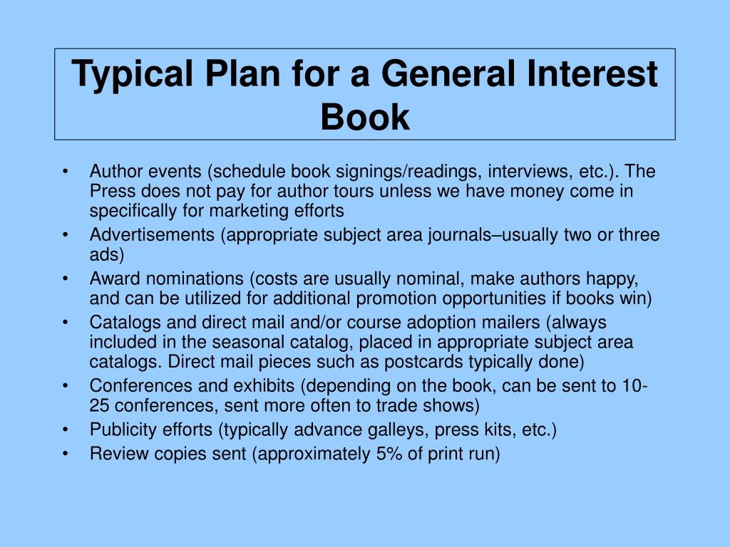 Typical Plan for a General Interest Book