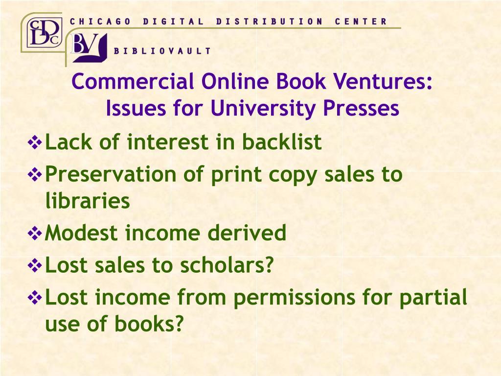 Commercial Online Book Ventures: