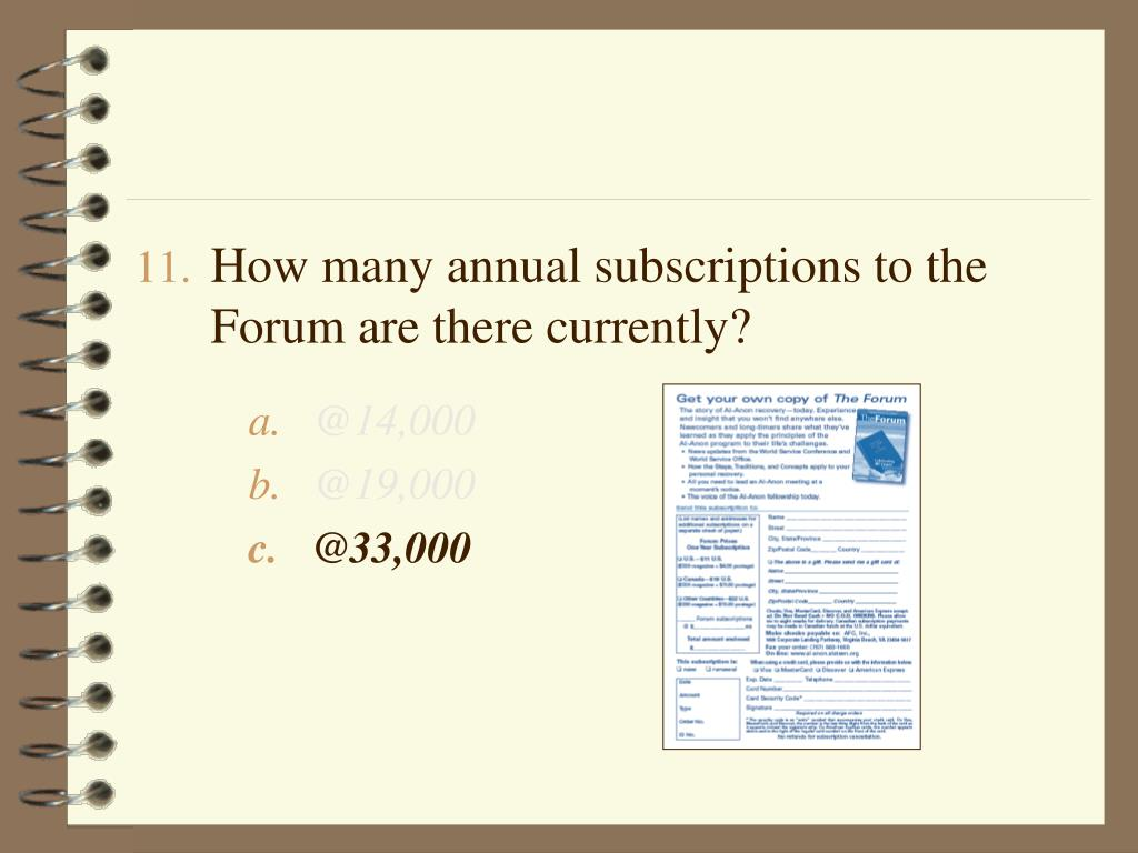 How many annual subscriptions to the Forum are there currently?