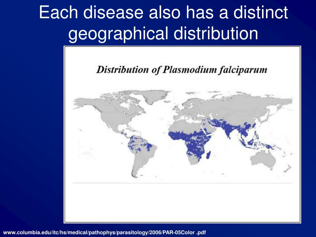 Each disease also has a distinct geographical distribution