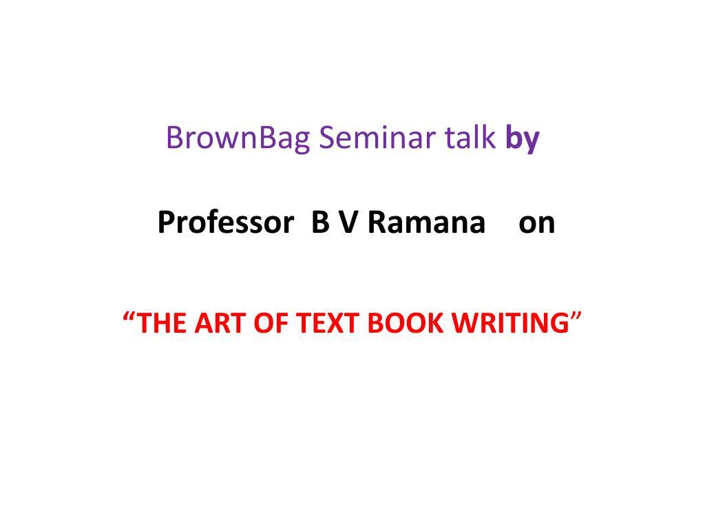 BrownBag Seminar talk