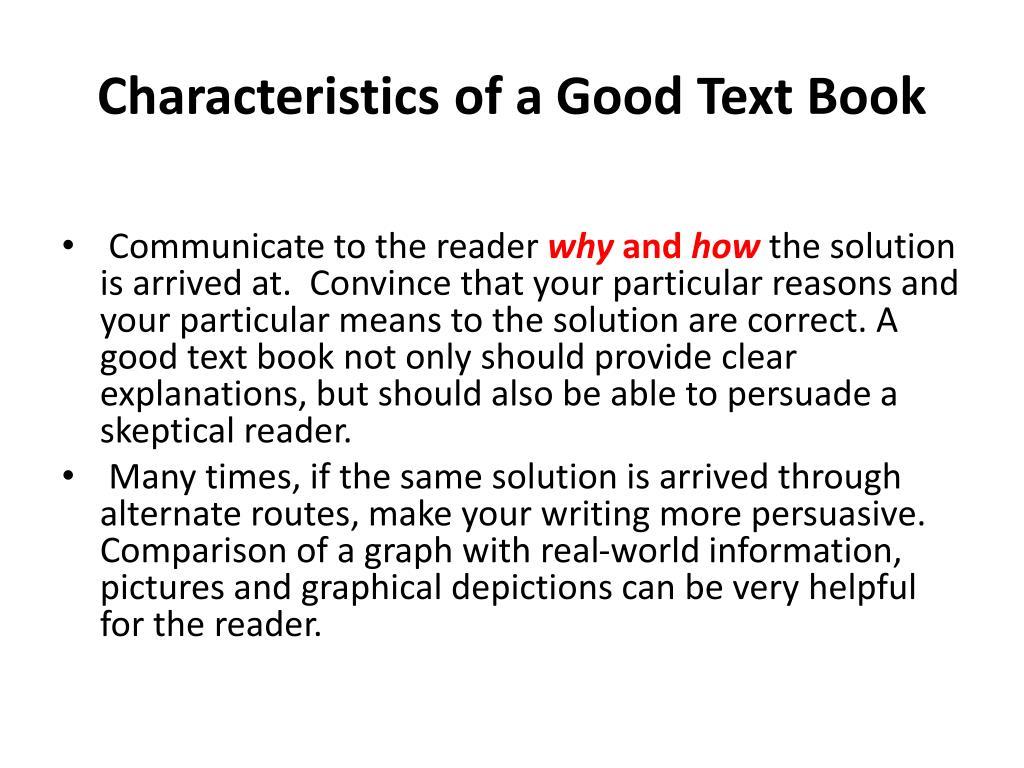 Characteristics of a Good Text Book