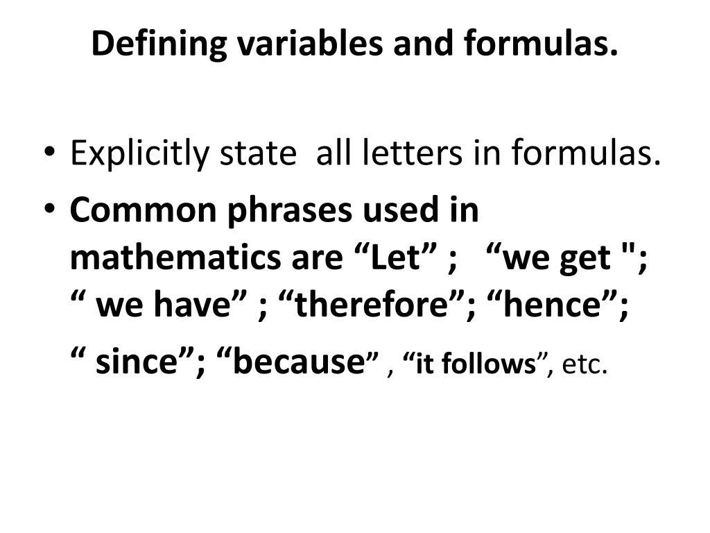 Defining variables and formulas.